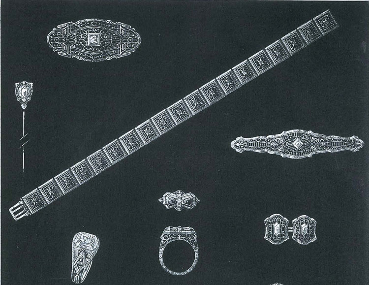 Filigree designs by Ostby & Barton Co., from the February 2, 1927 issue of THE JEWELER'S CIRCULAR